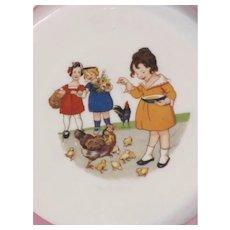 Vintage Children's Porcelain Bowl features Children Playing