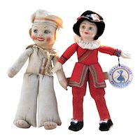 2 Vintage Cloth Dolls, Nora Wellings & Chad Valley