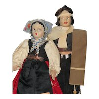 2 Vintage Cloth Dolls, Karavan & Gaucho