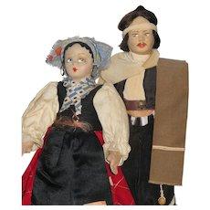2 Vintage Cloth Dolls, Karavan & Gaucho