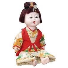 Vintage Japanese Ichimatsu Gofun Doll, Original Kimono