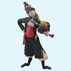 Vintage Roldan Felt Soldier or Musician, Colorful Costume