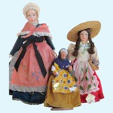 3 Vintage Dolls Regional Costume, French Santon, Italian Doll
