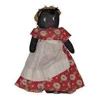 "14"" Vintage Black Cloth Doll, Made by Constance de Lorenzo"