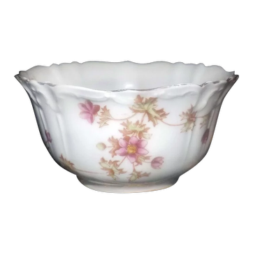 Antique (1886-1899) W.A.A. & Co | Adderley Spray No. 30 hand-painted cranberry serving bowl made in England.