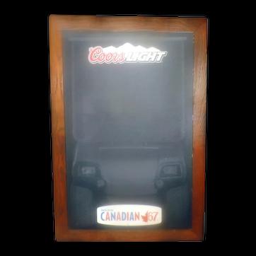 Vintage (1967) Molson Canadian '67 | Coors Light folding solid oak A-frame double-sided sandwich | chalk board | bar sign.