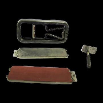 (1927) Vintage Rolls razor in embossed metal travel case. Great man gift.