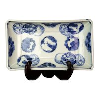 Antique Japanese Blue & White Porcelain Rectangular Bulb Bowl/Tray Three Friends