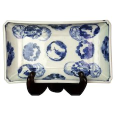Antique Japanese Blue & White Porcelain Rectangular Bowl/Tray Three Friends