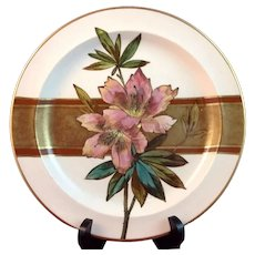 Antique Royal Doulton Lamberth Hand Painted Porcelain Plate ca. 1879 L. Young