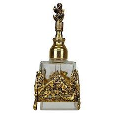 Vintage 24K Ormolu and Glass Perfume Bottle with Putti/Cherub by Globe