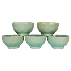 Blue Green Celadon Dimpled Studio Pottery Bowls - Set of Five (5)