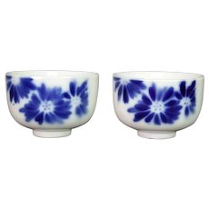 Pair of Japanese Arita Hand Painted Blue & White Sake or Tea Bowl Chrysanthemums
