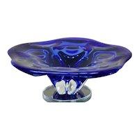 Vintage Large Murano Floral Form Flower Form Blue Art Glass Bowl