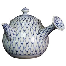 Japanese Imari Porcelain Blue and White Kyusu Teapot With Net Pattern Signed