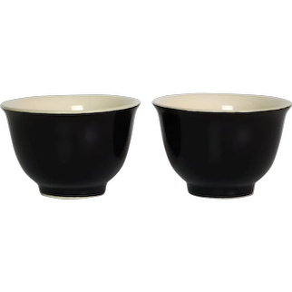 Pair of Chinese Porcelain Monochrome Black Wine Cups