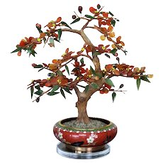 Chinese Hand Carved Hardstone Carnelian Jade Bonsai Tree In Cloisonne Alms Bowl