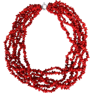 """Six Strand Sterling Silver Clasp Red Coral Necklace 23"""""""