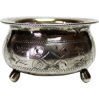 Russian .875 Silver Footed Salt Cellar by I.E. Zakhoder Etched Kiev