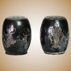 Vintage Thai/Siam Nielloware .975 Sterling Silver Salt & Pepper Shakers