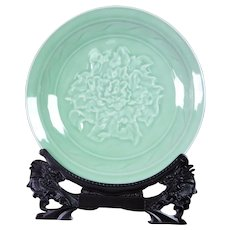 Chinese Longquan Celadon Charger Bowl with Carved Peony with Stand