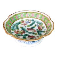 Antique Chinese Porcelain Tongzhi Altar Bowl with Five Carp in Waterweed 19th c