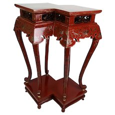 Chinese Red Lacquer Double Jardiniere Plant Stand