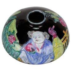 Antique Qing/ Guangxu Chinese Porcelain Black Ground Scholar's Water Holder Pot