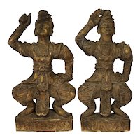 Pair Carved Gilded Painted Wood Indonesia Siam Thai Dancing Warriors Large