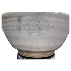 Antique Chinese Porcelain Blue & White Kitchen Qing Large Bowl With Fish