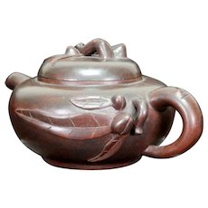 Yixing/Zisha Carved Teapot With Flora Leaf and Berry Vintage