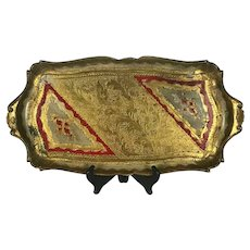 Antique Italian Florentine Tray in Red Gold Gilt White