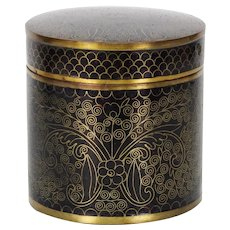 Chinese Black Enamel On Copper Gold Wire Cloisonne Tobacco Jar