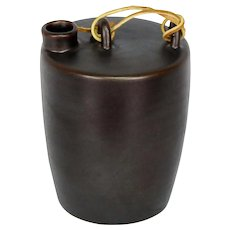 Brown Studio Pottery Jug Bottle With Leather Strap