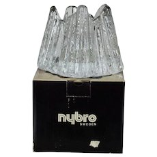 "Vintage Nybro Sweden ""Volcano"" Votive Candle Holder Original Box - Paul Isling"