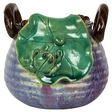 Chinese Shiwan Pottery Basket Form Flambe Vase With Frog On Lilypad