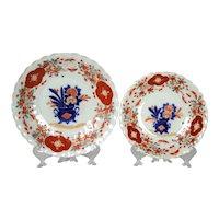 Pair Antique Japanese Imari Porcelain Plate Set With Scalloped Rim