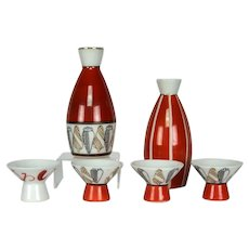 Vintage Japanese Kutani Sake Bottle and Cups