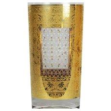 Mid Century Pair of Pasinski Glass 'Kashmir' 22k Gold Encrusted Tumblers 12 oz