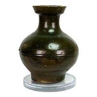 Chinese Han Dynasty Antique Green Glazed Stoneware Hu Vase