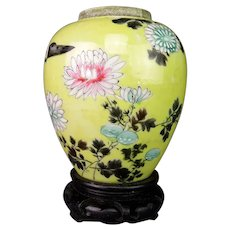 Antique Japanese Yellow Ground Hand Painted Porcelain Vase/Jar