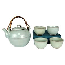 Vintage Nepalese Celadon Teapot and Tea Cups Copper Wrapped Bamboo Handle