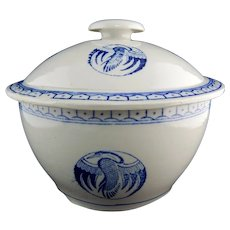 Chinese Porcelain Blue and White Transferware Lidded Bowl