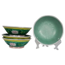 Chinese Porcelain Hand Painted Celadon Footed Bowls - SET OF 4