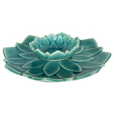 Japanese Lotus Form Crackle Glaze Plate and Small Sauce Bowl