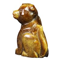 Hand Carved Tigers Eye Carving of a Dog 64g