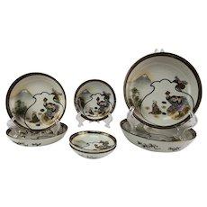 Antique Japanese Kutani Porcelain Bowl Collection Lucky God