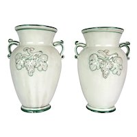 Pair of Vintage Italian Majolica Urn Vases White with Raised Grape Leaf