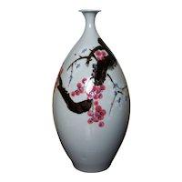 Large Hand Painted Korean Studio Celadon Porcelain Vase 松岩 with Prunus