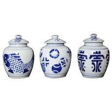 Three Chinese Porcelain Blue & White Hand Painted Lidded Jars